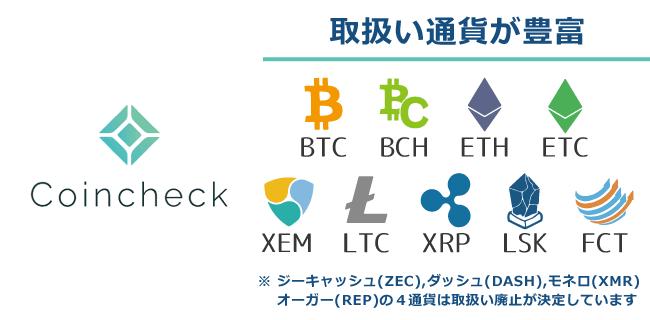日本国内においては取扱い通貨が豊富┃日本国内の仮想通貨取引所コインチェック